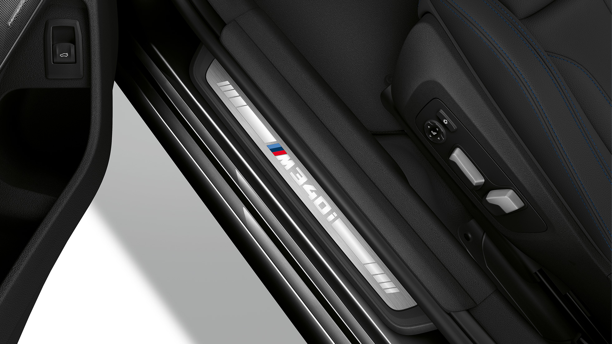 Top view of the door sill of the BMW 3 Series M340i xDrive Sedan.